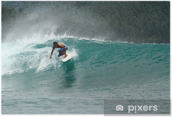 Poster Snelheid surfer op tropische groene golf - Thema's