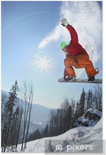 Poster Snowboarder sautant contre le ciel bleu - Sports d'hiver