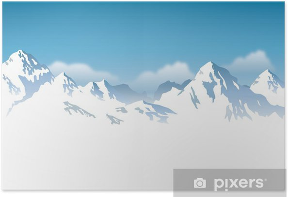 snowcapped mountains - background Poster - Themes