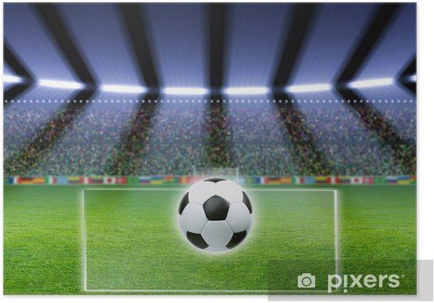 Soccer ball, stadium, spotlights Poster - Themes