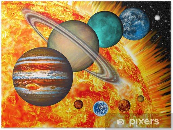 Poster Solar System: de vergelijkende grootte van de planeten en zon. - Bestemmingen