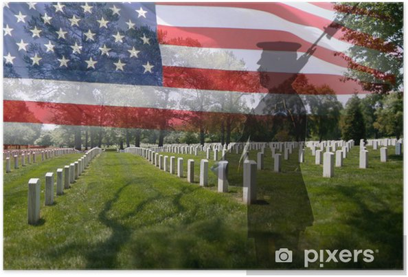 Poster SoldatSilhouette, amerikanska flaggan och gravstenar. - Nationella evenemang
