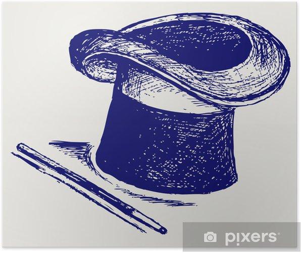 Póster Sombrero mágico con la varita mágica • Pixers® - Vivimos para ... f3ccf49cb89