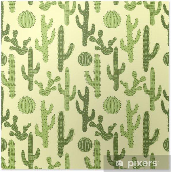 Poster Sömlös mönster med kaktusar # 1 - Bakgrunder