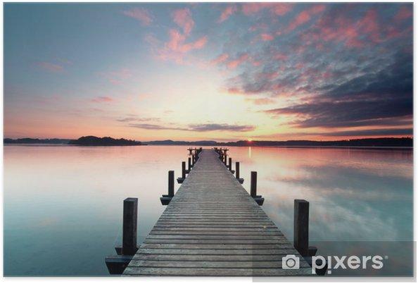 Póster Sommermorgen mit Sonnenaufgang - Agua