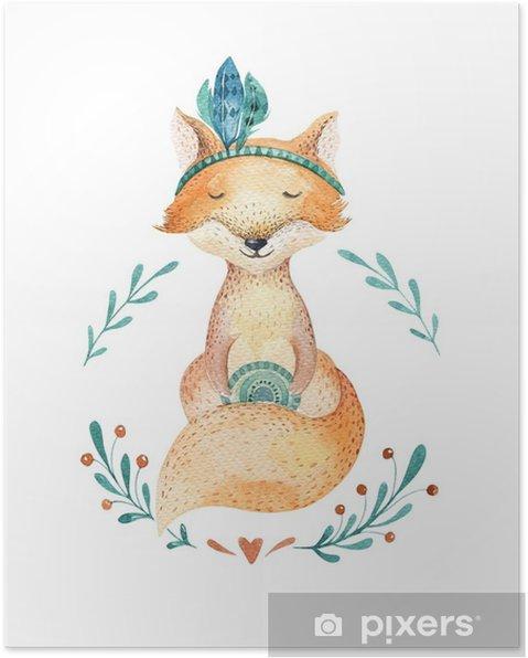 Poster Söt baby räv djur för dagis, barnkammare isolerad illustration för barn kläder, mönster. vattenfärghanddragen boho bild perfekt för telefonfall design, plantskola affischer, vykort. - Djur