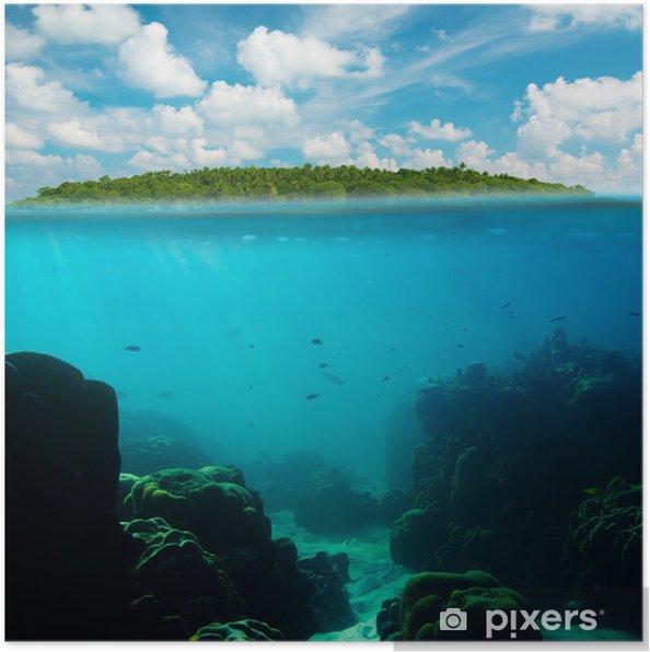Poster Sous-marin tropical coup splitté avec l'île et le ciel - Thèmes