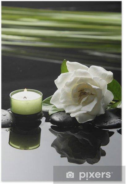 Poster Spa concept-White gardenia et pierres noires avec feuilles de palmier - Beauté et soins du corps