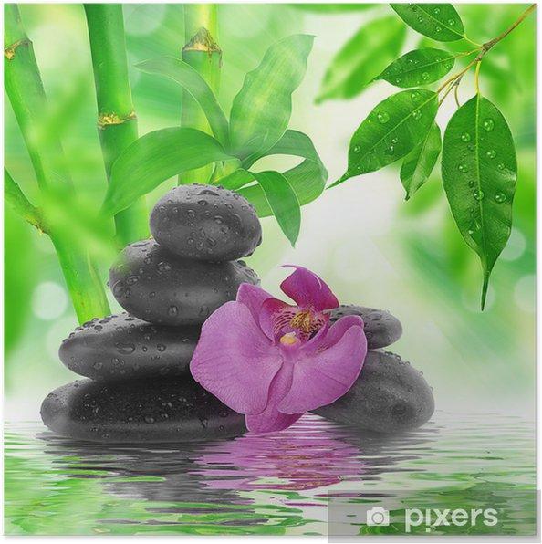 Poster Spa de fond - pierres noires et bambou sur l'eau - Styles