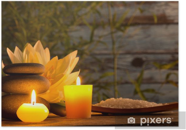 Poster Spa encore la vie avec des bougies aromatiques - Maisons et jardins