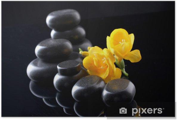 Poster Spa pierres et fleur jaune sur fond noir -