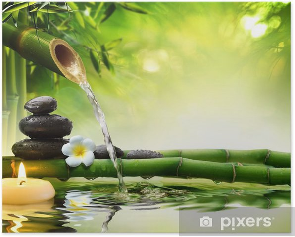 spa stones in garden with flow water Poster - Styles