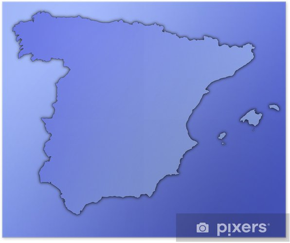 Spain Espana Map Outline And Shadow Poster Pixers We Live To