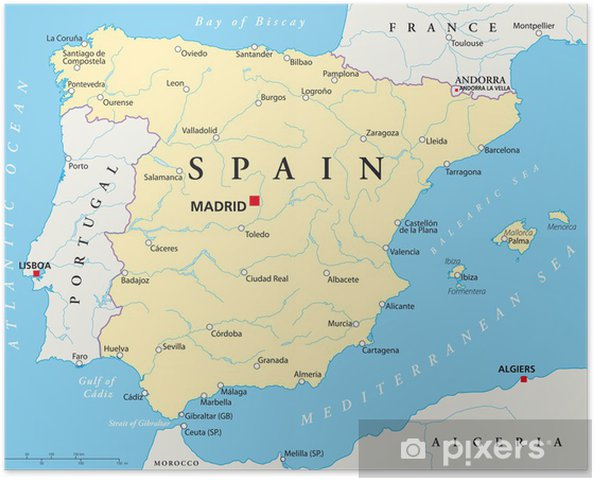 Poster Spanje Kaart - Thema's