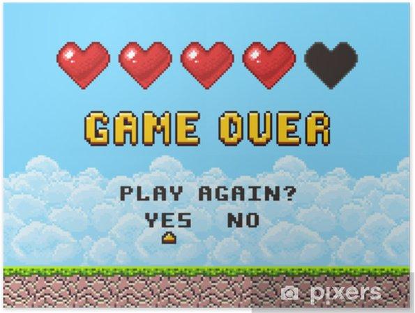 Poster Spel over pixel art arcade game scherm vector illustratie - Grafische Bronnen