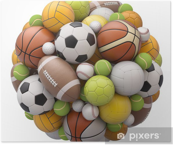 Sport Balls Isolated On White Background Poster