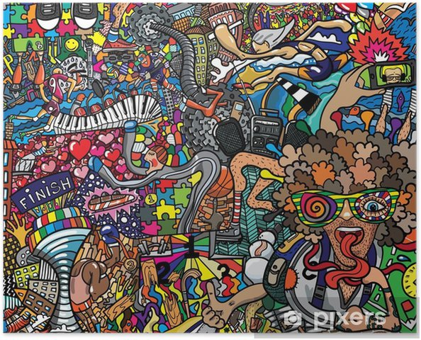 sports collage on a large brick wall graffiti poster pixers we