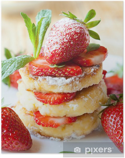 stack of homemade curd pancake with strawberry slices Poster - Themes