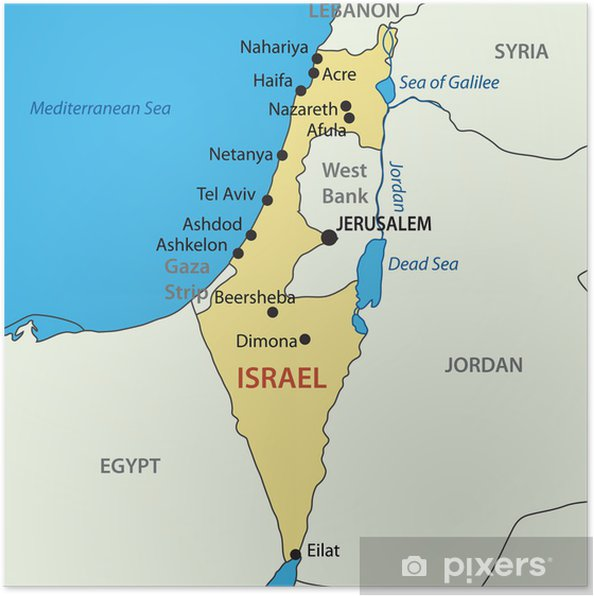 State Of Israel Vector Map Poster Pixers We Live To Change