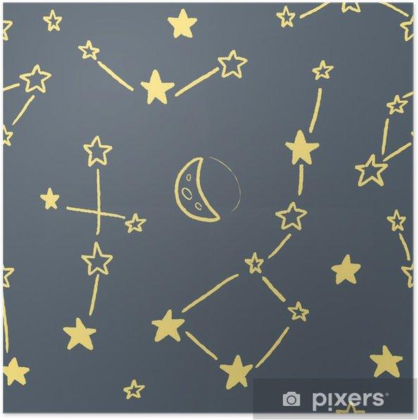 Poster Sterren constellatie textuur - Grafische Bronnen