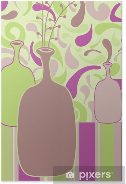 still life vector illustration with a bottles Poster - Art and Creation