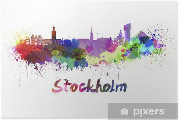 Poster Stockholm skyline in aquarel - iStaging