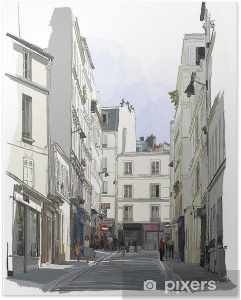 Poster Straat in de buurt van Montmartre in Parijs - Gebouwen en Architectuur