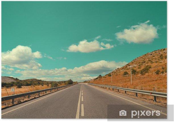 Strada vintage con nuvole Poster - Countryside