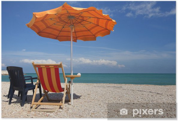 Strandstoel En Parasol.Poster Strand Stoel En Parasol