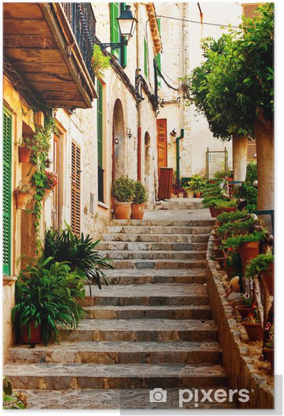 Street in Valldemossa village in Mallorca Poster -