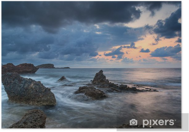 Stunning landscapedawn sunrise with rocky coastline and long exp Poster - Skies
