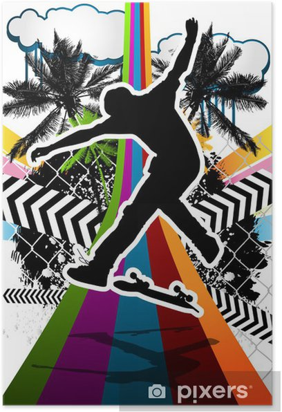 Summer abstract background design with skateboarder silhouette. Poster - Skateboarding