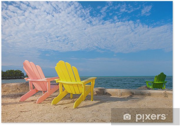 Summer Scene With Colorful Lounge Chairs On A Tropical Beach Poster