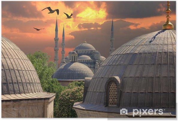 Póster Sundown en Estambul. Mezquita azul en la distancia - Estilos