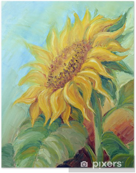 Sunflower, oil painting on canvas Poster - Sunflowers