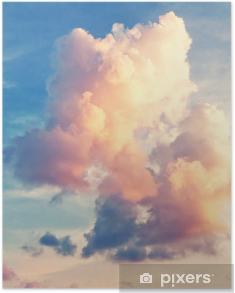 Poster Sunny sky background in vintage retro style - Himmel
