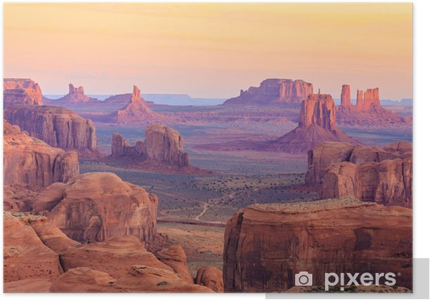 Sunrise in Hunts Mesa in Monument Valley, Arizona, USA Poster - Landscapes