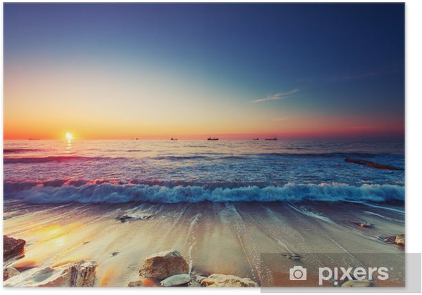 Sunrise over the sea Poster - Themes