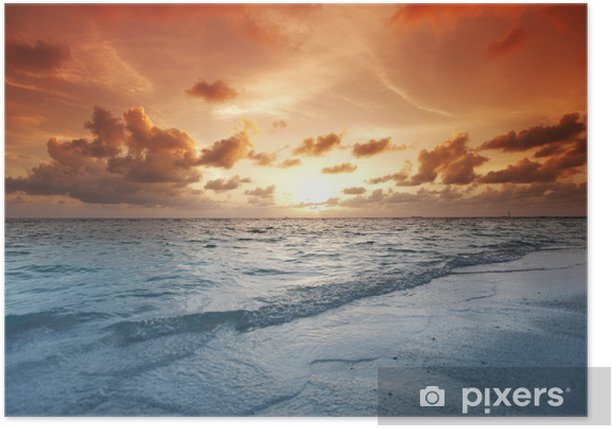 Sunset on beach Poster - Holidays