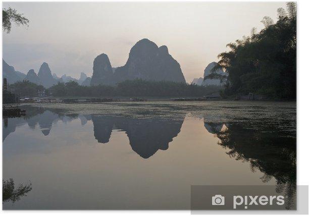 Sunset on Li river, China Poster - Asia