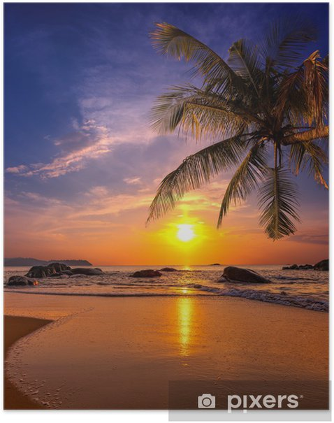 Sunset over the sea. Province Khao Lak in Thailand Poster -