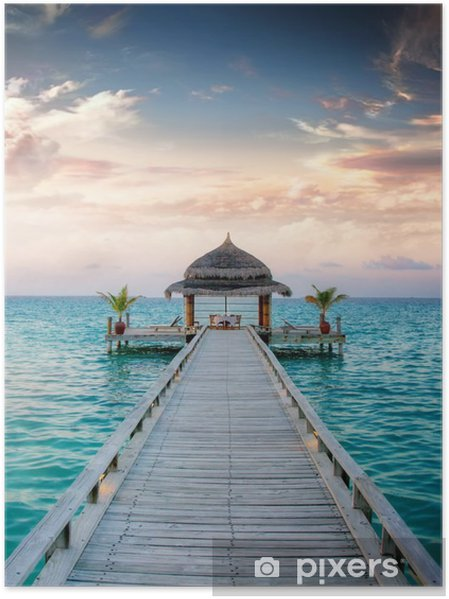 Poster Sunset / Sunrise Brygga på Maldiverna / Malediven -