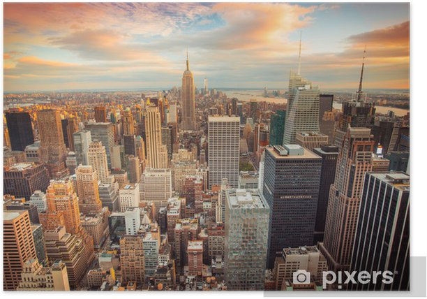 Sunset view of New York City overlooking midtown Manhattan Poster -