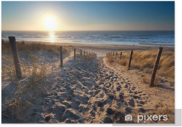 sunshine over path to beach in North sea Poster - Destinations