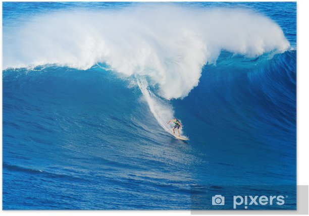 Surfer Riding Giant Wave Poster