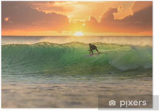 Surfer surfing at sunrise Poster - iStaging
