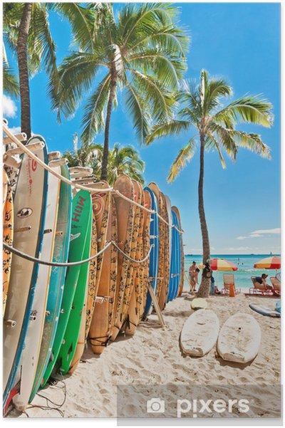 Poster Surfplanken in het rek op Waikiki Beach - Thema's