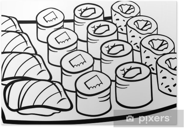 Sushi Lunch Cartoon Coloring Page Poster