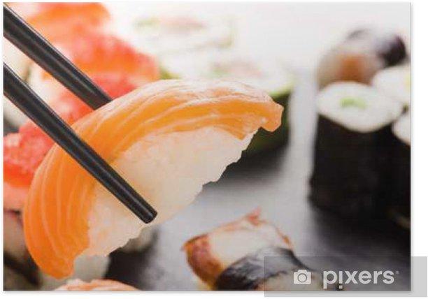 Sushi with chopsticks closeup Poster - Food