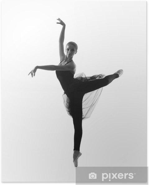 50eb97b4830f Poster Svart och vitt spår av unga vackra balettdansös • Pixers ...